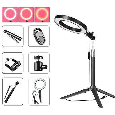 Studio LED Photography Ring Light Photo Video Makeup Stand Dimmable Lighting UK • 8.99£