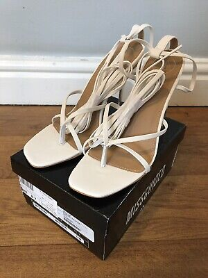 BNIB MISSGUIDED WHITE STRAPPY HIGH HEELED SHOES CLEAR HEEL ~ Size 5/ EUR 38 • 13£