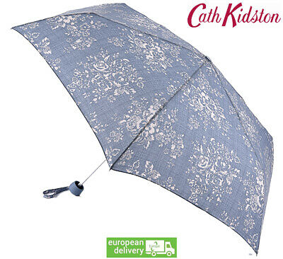 Cath Kidston Washed Rose Blue Minilite Compact Folding Umbrella Matching Cover • 25.49£