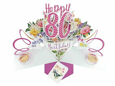£5.49 • Buy 80th Birthday Pop Up Card Second Nature 3D Pop Up Cards Keepsake Flowers
