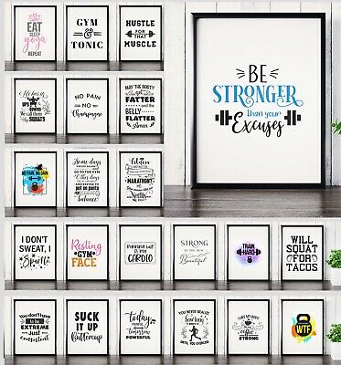 Motivational Gym & Fitness Posters Workout Prints Home Decor Wall Art Inspiring • 3.99£