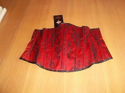 £9.99 • Buy Sexy Red And Black Lace Effect Boned Under Bust Corset Basque Various Sizes