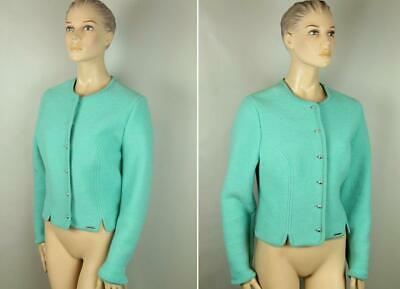 $24.99 • Buy GEIGER Austria Aqua Blue Boiled 100% Pure Wool Cropped Dress Coat Jacket 46