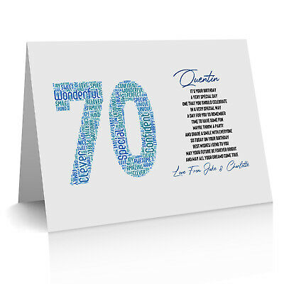 Personalised 70th Birthday Word Art Gifts For Him Dad Uncle Any Number 60th 80th