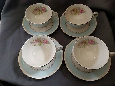 $24.99 • Buy Homer Laughlin Georgian Eggshell Chateau Blue Coffee Cup & Saucer L51N5 Set Of 4