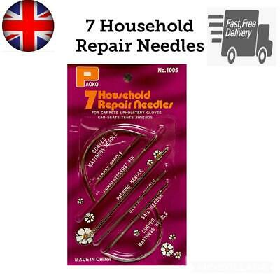 £2.99 • Buy 7 Hand Repair Upholstery Sewing Needles Curved Craft Carpet Leather Blanket Tent