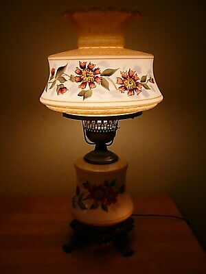 $ CDN241.04 • Buy Beautiful White Raised Floral Hand Painted 3 Way Vintage GWTW,Parlor Table Lamp