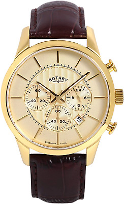 Rotary Men's Quartz Watch With Beige Dial Chronograph Display And Brown Leather • 145£