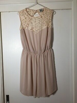 AU19.99 • Buy Asos Womens Light Nude Beige Dress Size 14 With Floral Lace Trim Sleeveless