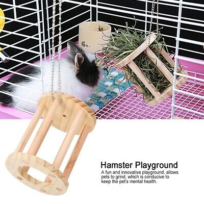 £5.15 • Buy Wooden Pet Hamster Guinea Pigs Chew Play Grass Basket Cage Playground Toy