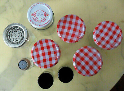Lot Of 9 Empty Clear GLASS Jam & Spice JARS Bonne Maman Red Gingham Pattern Lids • 7.71£