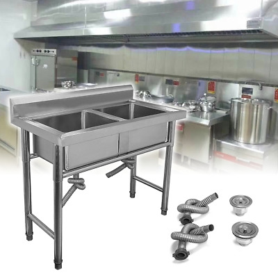 Catering Sink Commercial Stainless Steel Kitchen Double Bowl Drainer Unit • 149.36£
