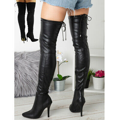 Womens Thigh High Ladies Over The Knee Stiletto Heel Stretchy Boots Shoes Sizes • 24.99£