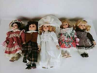 $ CDN47.34 • Buy Lot Of 5 Porcelain Doll Wedding Dresses Girl