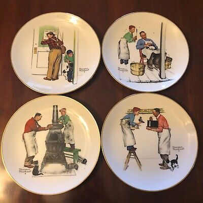 $ CDN132.01 • Buy Set Of 4 Norman Rockwell Plates 1979 Gorham Four Seasons Series  A Helping Hand