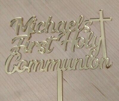 £6.49 • Buy Personalised Communion Cake Topper ACRYLIC NOT CARD Mirrored Silver Religious
