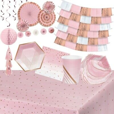 £3.99 • Buy Rose Pink And Gold Party Supplies Tableware, Decorations & Balloons