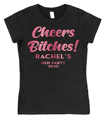 £9.99 • Buy Personalised Cheers Hen Do Night T-Shirt Pink Glitter Bride Party Date Wedding