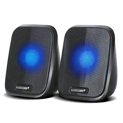 PC Computer Laptop Speakers USB 2.0 Stereo LED 6W High Quality Clear Sound UK HQ • 12.99£