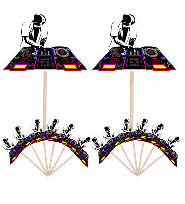 £4.99 • Buy 14 Party Food & Cup Cake Picks Sticks Decorations Toppers Music DnB DJ Mixer
