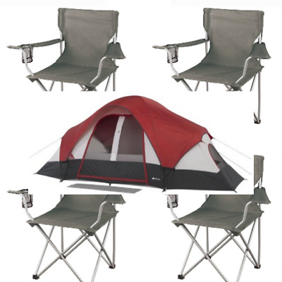 AU246.60 • Buy Camping Dome Tent 8-Person Modified Rear Window E-port BUNDLE 4 Chairs 2 Rooms