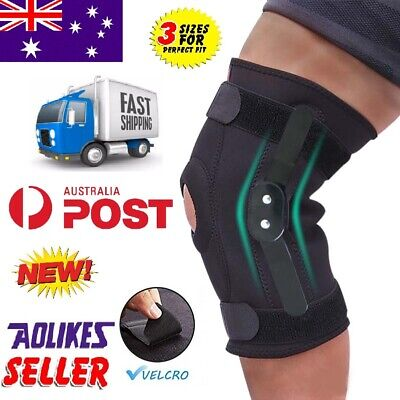 AU15.99 • Buy Double Metal Hinged Full Knee Brace Strap Adjustable Sports Running Support L XL