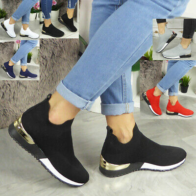 Ladies Sock Wedge Trainers Womens Sneakers Slip On Classic Jogging Pumps Shoe • 17.99£