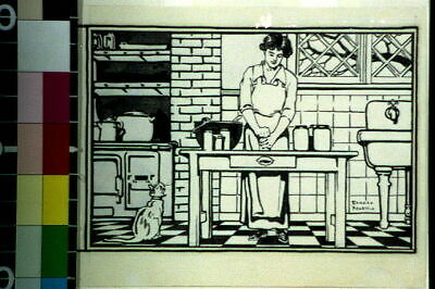 Woman Removing Jar Lid In Kitchen,Edward Penfield,1913?,Cookery,Domestic L 9183 • 9£