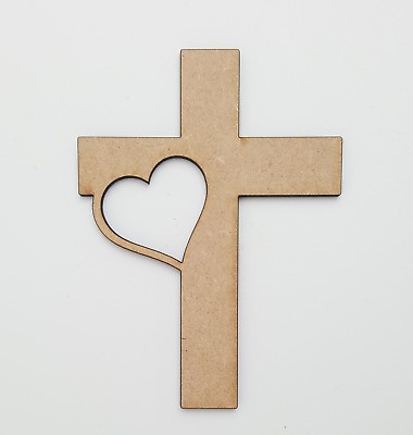 £4 • Buy Wooden MDF Christian Heart Cross Shapes Decoration Craft 100,150,200mm