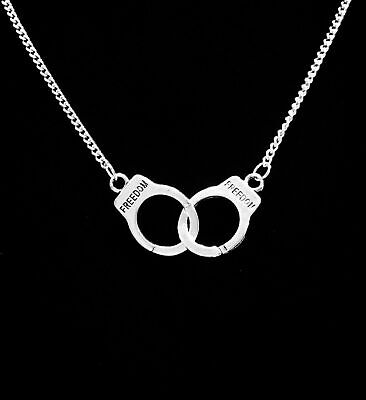 £7.15 • Buy 1x Handcuff Necklace Freedom Charm Partners In Crime Chain Friends Jewelry Gift