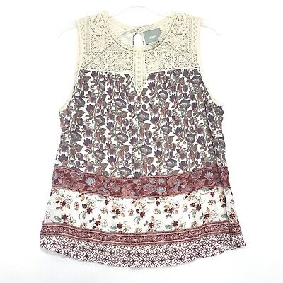 $ CDN112.56 • Buy Anthropologie MAEVE NWT Sleeveless Tunic Blouse Sz XL Lace Bodice Floral Body