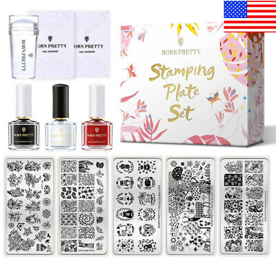 $8.27 • Buy BORN PRETTY Stamping Kit Geometry Flower Nail Art Stamp Plates Polish Stamper