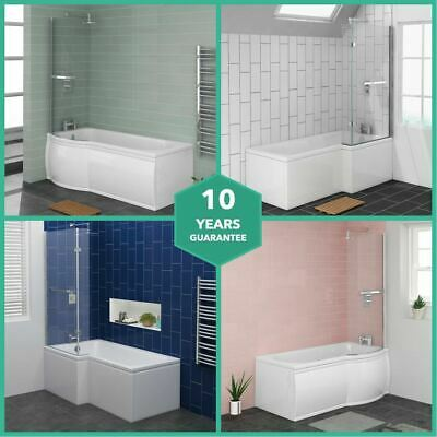 L & P Shape Shower Bath Bathroom Screen Panel 1500 1675 1700 Left Right Hand • 329.97£