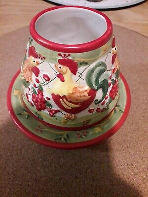 Yankee Candle Small Ceramic Shade & Tray Set Rooster Chicken Country House VGC • 15£