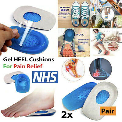 Silicone Heel Support Orthotic Plantar Care Shoe Insole Insert Gel Cushions • 2.69£