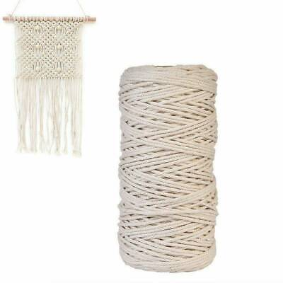 AU28.59 • Buy 3/4/mm Macrame Rope Natural Beige Cotton Twisted Cord Artisan Hand Craft 2pcs