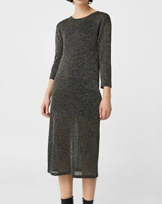 AU29.99 • Buy Mango Metallic Knit Dress Straight Cut 3/4 Sleeves Lined NWT Size S, AU8 (mng11)