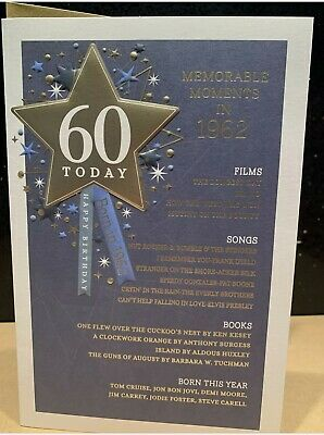 60th Today Year You Were Born In Birthday Card 1960 Events Large Unique Style • 3.65£