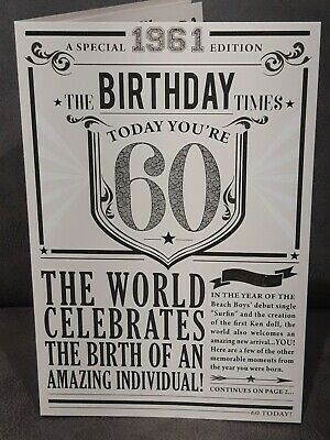£3.99 • Buy 60th Year You Were Born In Birthday Card 1961 Events Large Newspaper Style