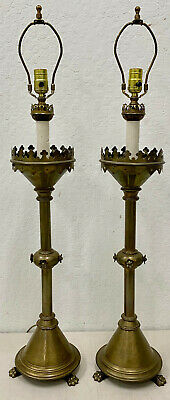 $1850 • Buy Pair Of Gothic Antique Bronze Table Lamps 19th C.