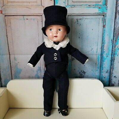 $32 • Buy Vintage Composition Doll Jointed Unmarked Groom Doll Wool Suit 15