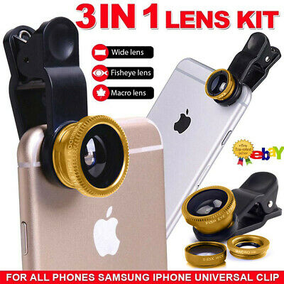 £2.99 • Buy Universal Clip 3 In 1 Fisheye Macro Wide Angle Lens Kit Set For IPhone Samsung