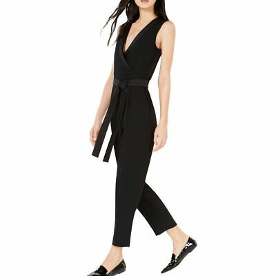 $119.99 • Buy MARELLA NEW Women's Black Tuxedo-trimmed-neck Belted Jumpsuit 4 TEDO