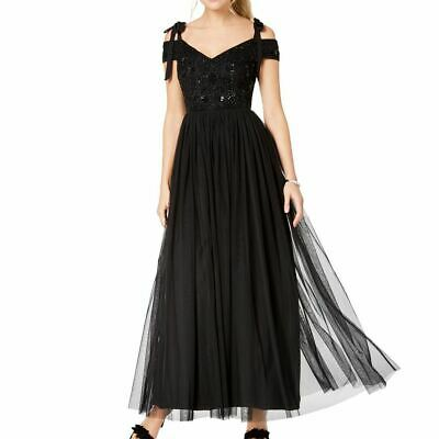 $38.12 • Buy ADRIANNA PAPELL NEW Women's Black Beaded Off-the-shoulder Ball Gown Dress 6 TEDO