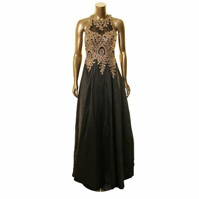 $59.99 • Buy XSCAPE NEW Women's Black Embroidered Mesh Illusion Ball Gown Dress 6 TEDO
