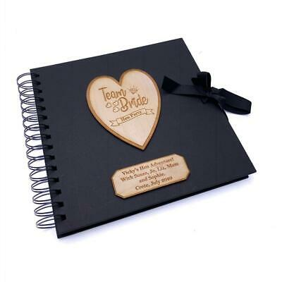 Personalised Team Bride Hen Party Scrapbook Photo Album Black Cover • 14.99£