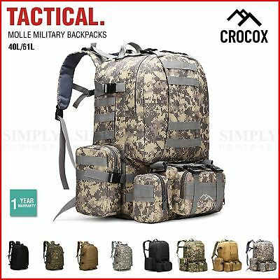 AU44.90 • Buy Crocox MOLLE Tactical Backpack Bag Military Pouches Rucksack Canvas Army Hiking