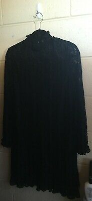 AU15 • Buy Navy London ASOS Black Lace Dress High Neck Sheer Sleeves Ruffle 10
