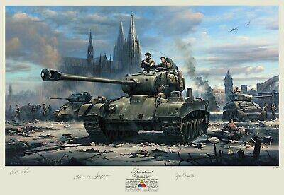 $175 • Buy M26 Pershing Tank Print Autographed By Clarence Smoyer, 3rd Armored Division!