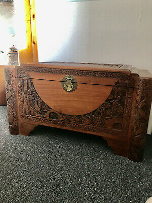Vintage Oriental Guangdong CAMPHOR WOOD CHEST • 450£